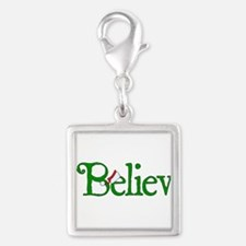 I Believe with Santa Hat Silver Square Charm
