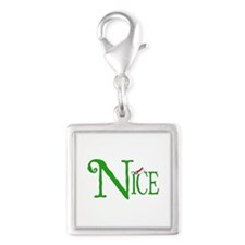 Nice for Christmas Silver Square Charm