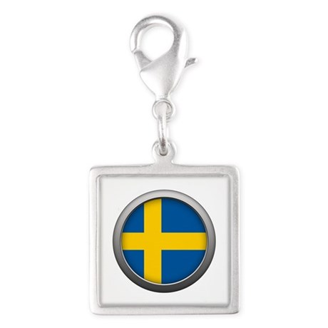 Round Flag - Sweden Silver Square Charm