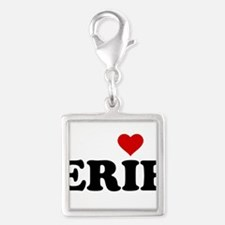 Erie with Heart Silver Square Charm