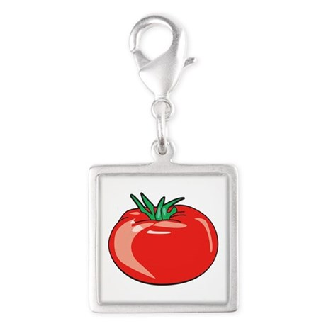 Red Tomato Silver Square Charm
