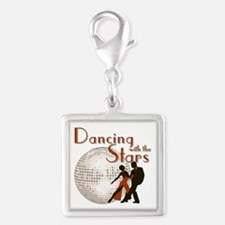 Retro Dancing with the Stars Silver Square Charm