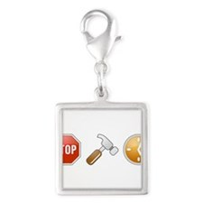 Stop - Hammer - Time Silver Square Charm