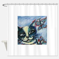 Whimsical happy cat smiling butterfly Shower Curta