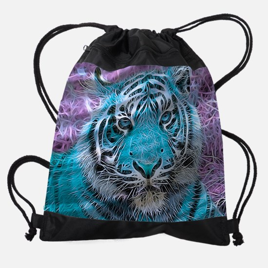 Crazy blue Tiger (C) Drawstring Bag