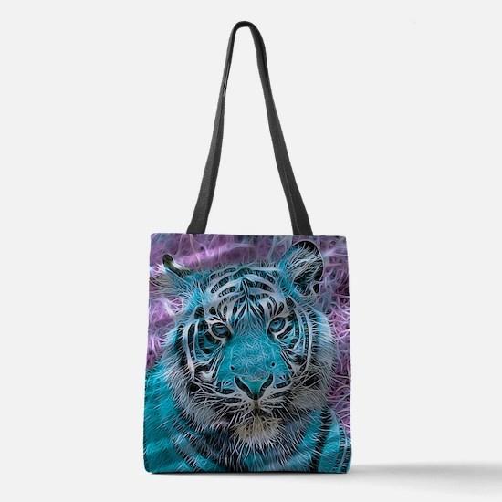 Crazy blue Tiger (C) Polyester Tote Bag