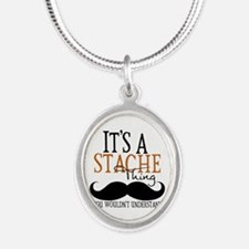 Its A Stache Thing Silver Oval Necklace
