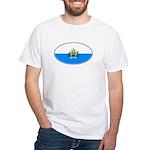 San Marino Oval Flag White T-Shirt