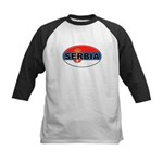 Serbian Oval Flag Kids Baseball Jersey