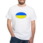 Ukrainian Oval Flag White T-Shirt