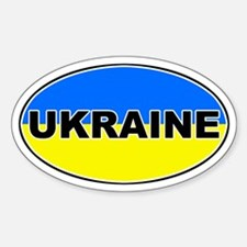 Ukrainian Oval Flag Oval Decal