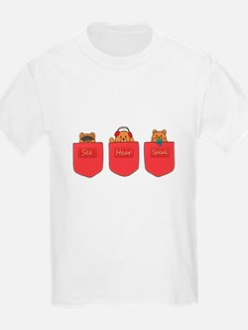 Cute Cartoon Teddy Bears in Pockets T-Shirt