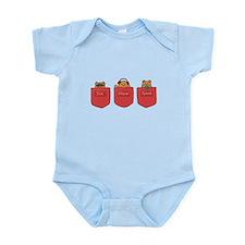 Cute Cartoon Teddy Bears in Pockets Infant Bodysui