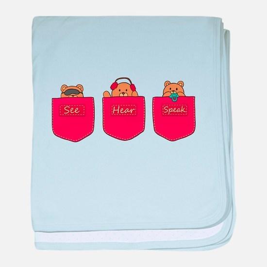 Cute Cartoon Teddy Bears in Pockets baby blanket