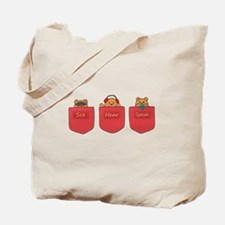 Cute Cartoon Teddy Bears in Pockets Tote Bag
