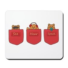 Cute Cartoon Teddy Bears in Pockets Mousepad