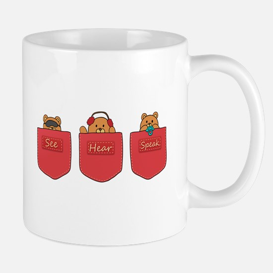 Cute Cartoon Teddy Bears in Pockets Mug