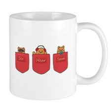 Cute Cartoon Teddy Bears in Pockets Mug