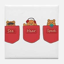 Cute Cartoon Teddy Bears in Pockets Tile Coaster