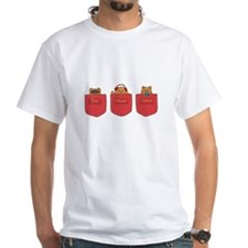 Cute Cartoon Teddy Bears in Pockets Shirt