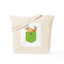 Cute Cartoon Bunny in Pocket Tote Bag