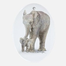 Mother and baby elephant Ornament (Oval)