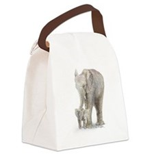 Mother and baby elephant Canvas Lunch Bag