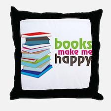 Books Make Me Happy Throw Pillow