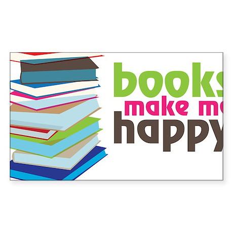 Books Make Me Happy Sticker (Rectangle)