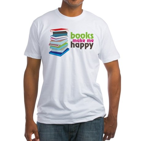 Books Make Me Happy Fitted T-Shirt