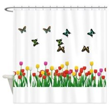 Tulip Garden and Butterflies Shower Curtain