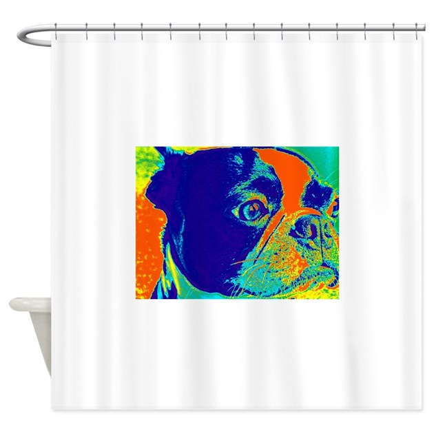 bold boston shower curtain by bostonterrierdesigns79