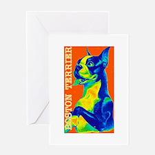 Bold Vintage Boston Terrier Greeting Card