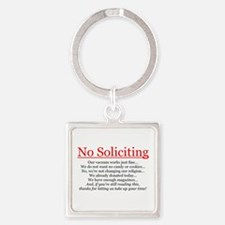 No Soliciting Square Keychain
