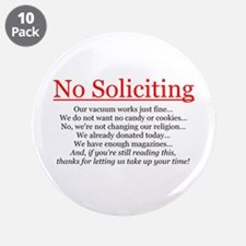 "No Soliciting 3.5"" Button (10 pack)"