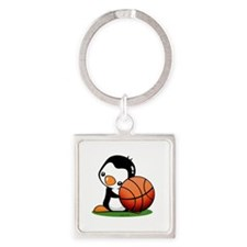 Basketball Penguin Square Keychain