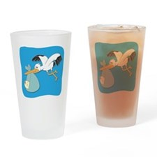 Stork carrying baby cartoon Drinking Glass