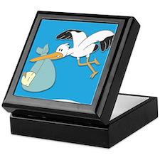 Stork carrying baby cartoon Keepsake Box