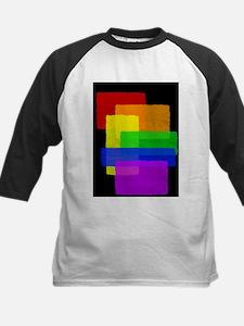 Gay Pride Rainbow Color Blocks Kids Baseball Jerse