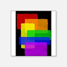 "Gay Pride Rainbow Color Blocks Square Sticker 3"" x"