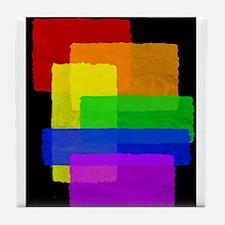 Gay Pride Rainbow Color Blocks Tile Coaster