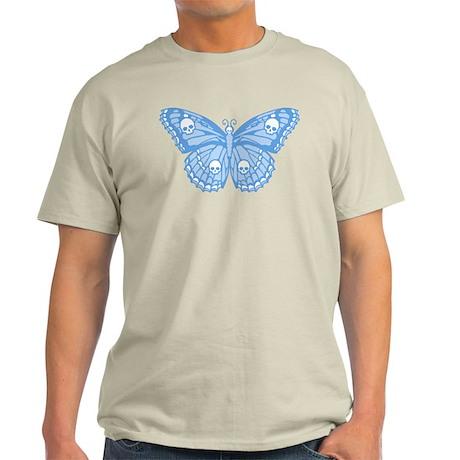 Blue Skull Butterfly Light T-Shirt