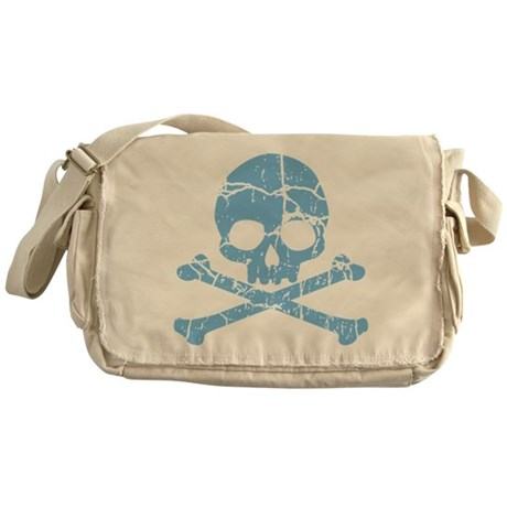 Worn Blue Skull And Crossbones Messenger Bag