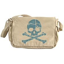 Worn Blue Skull And Crossbones Messenger Bag