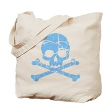 Worn Blue Skull And Crossbones Tote Bag