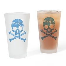 Worn Blue Skull And Crossbones Drinking Glass