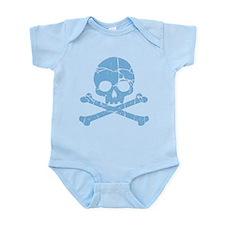Worn Blue Skull And Crossbones Infant Bodysuit