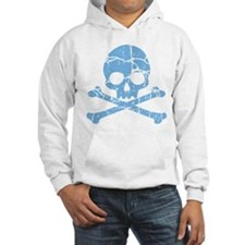 Worn Blue Skull And Crossbones Hoodie