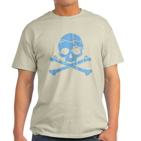 Worn Blue Skull And Crossbones Light T-Shirt