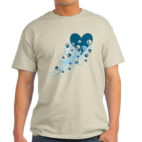 Blue Heart With Skulls And Swirls Light T-Shirt